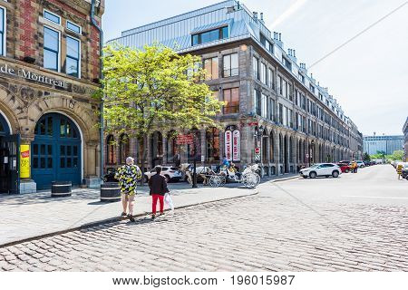 Montreal, Canada - May 28, 2017: Old Town Area Center Of History By Street In Quebec Region City