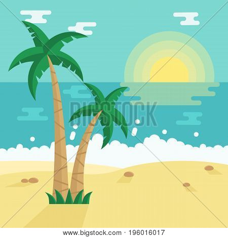 Summer Beach with Tropical Palm trees. Vector illustration in flat style.