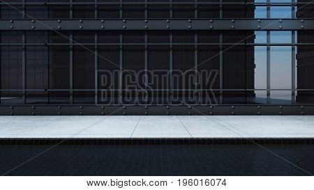 Front view building wire frame structure design modern minimal Black steel frame surrounded by black glass. - 3D render