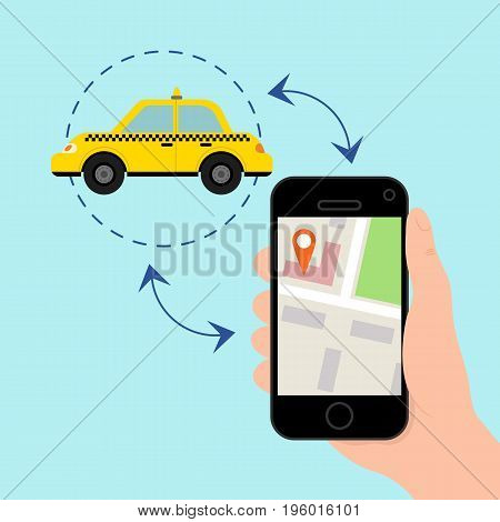 Hand holding mobile smart phone with app search taxi. Vector illustration in flat style.