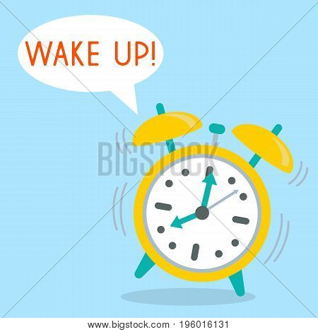 Alarm Clock with word Wake up. Vector illustration in flat style.
