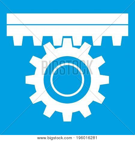 One gear icon white isolated on blue background vector illustration