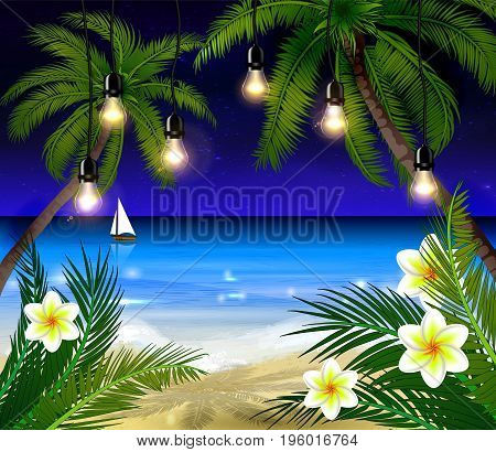 Palm trees on night beach and boat background vector