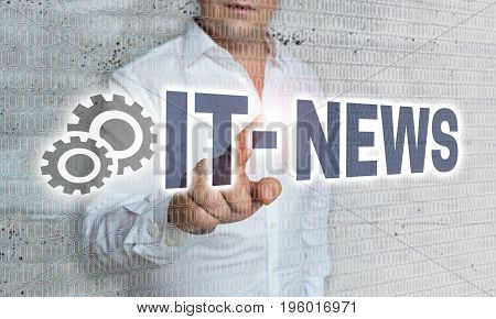 It News With Matrix And Businessman Concept