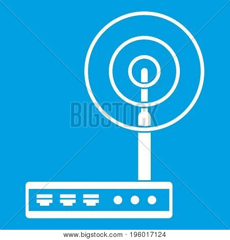 Wifi router icon white isolated on blue background vector illustration