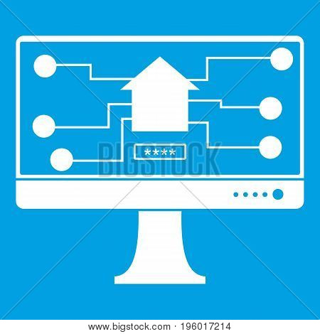 Monitor chip icon white isolated on blue background vector illustration