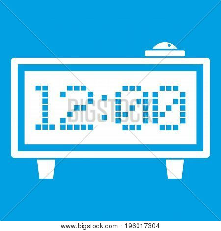 Alarm clock icon white isolated on blue background vector illustration