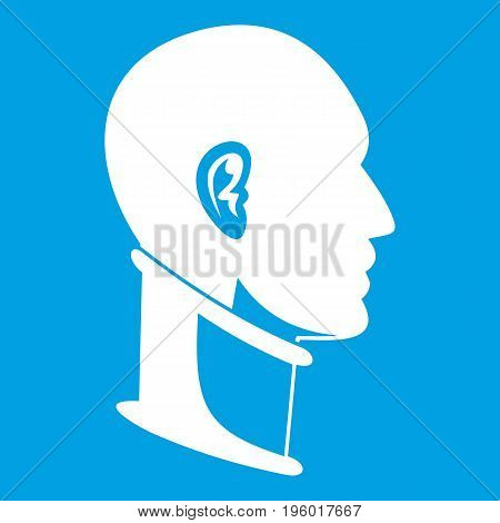 Cervical collar icon white isolated on blue background vector illustration