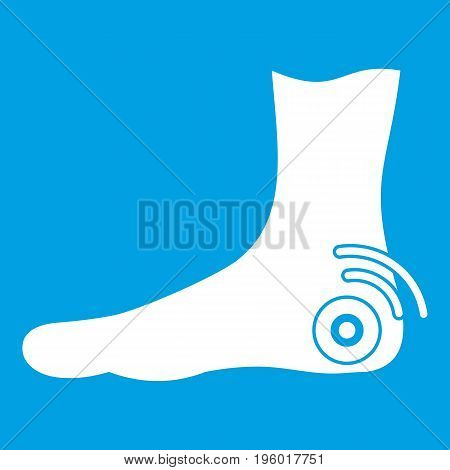 Foot heel icon white isolated on blue background vector illustration
