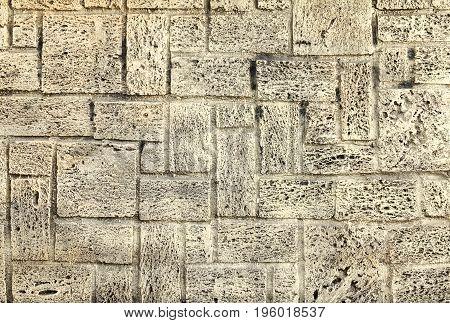 White Worn Marble Sandstone Brick Old Brick Tile Wall Texture. Vintage Effect.