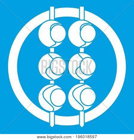 Asian shashlik icon white isolated on blue background vector illustration
