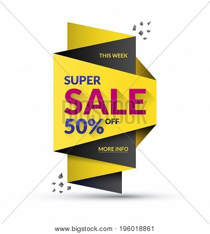 Super sale design template. Vector illustration. Special offer and discount concept. Up to 50 percent off banner.