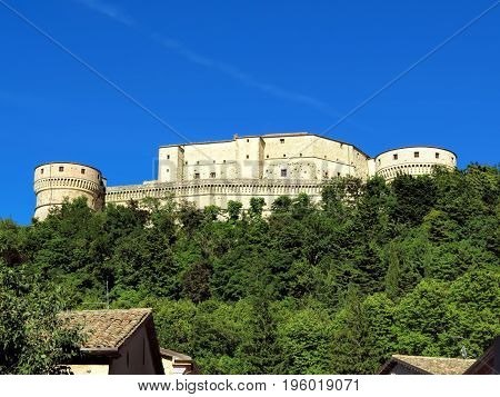 The Renaissance Fortress of San Leo located on a rocky cliff dates back to the fifteenth century