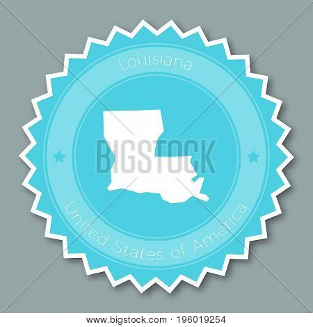 Louisiana Badge Flat Design. Round Flat Style Sticker Of Trendy Colors With The State Map And Name.