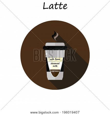 latte cup . Coffee latte illustration. Coffee latte in flat style