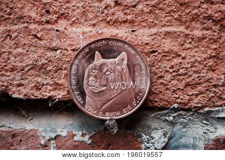 Dogecoin On Brick Wall