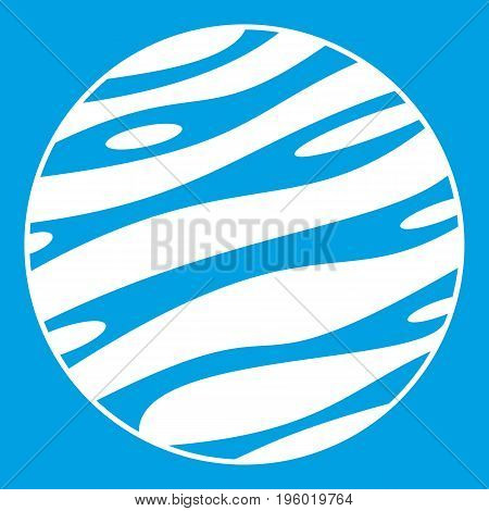 Big planet icon white isolated on blue background vector illustration