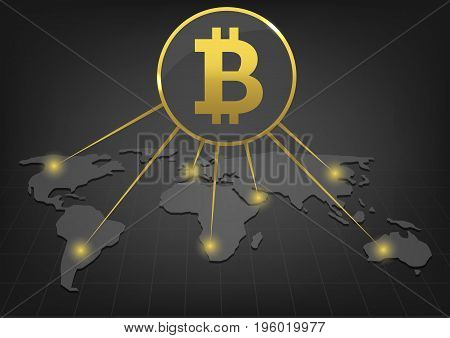 Golden Bitcoin signs on the World map. Bitcoin cryptocurrency digital payment system