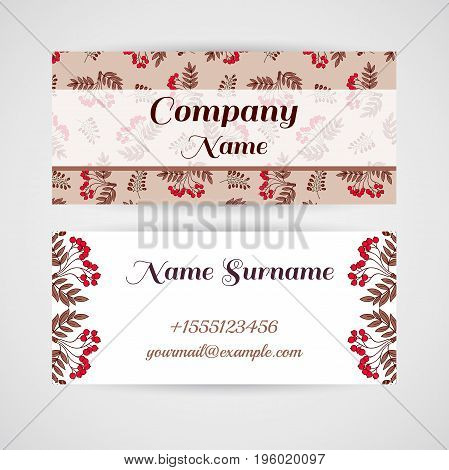 Business card with hand drawn red berries on blue background. Vector illustration.