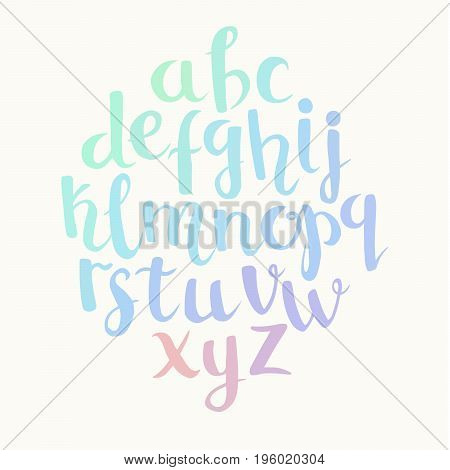Lettering latin alphabet. Hand drawn brush painted letters. Abc calligraphy. Holographic colors letters for you text or logo. Isolated on white background