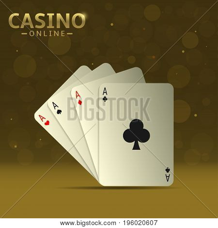 Poker playing cards. Set of four aces playing cards suits, Winning poker hand over golden sparkles background
