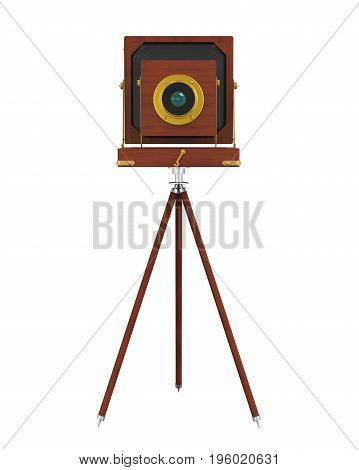 Vintage Wooden Camera isolated on white background. 3D render