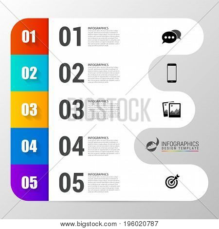 Infographic design template with 5 steps. Vector illustration