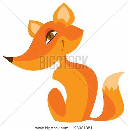 Cartoon red fox with a sly little face