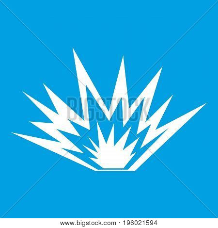 Nuclear explosion icon white isolated on blue background vector illustration