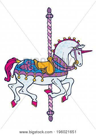 Bright elegant smart carousel blue cute unicorn