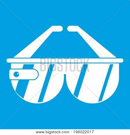 Game headset icon white isolated on blue background vector illustration
