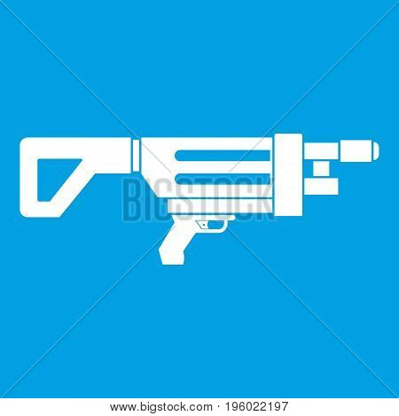 Game gun icon white isolated on blue background vector illustration