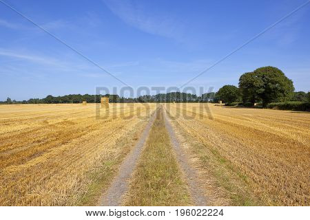 Farm Track And Hay Stacks