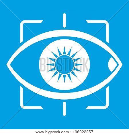 Eye icon white isolated on blue background vector illustration