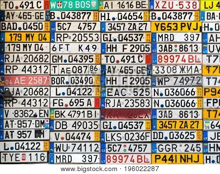 Odessa, Ukraine - Circa 2017: License Numbers Auto From All Over The World On Display. Discontinued