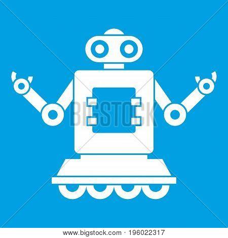 Cyborg on wheels icon white isolated on blue background vector illustration