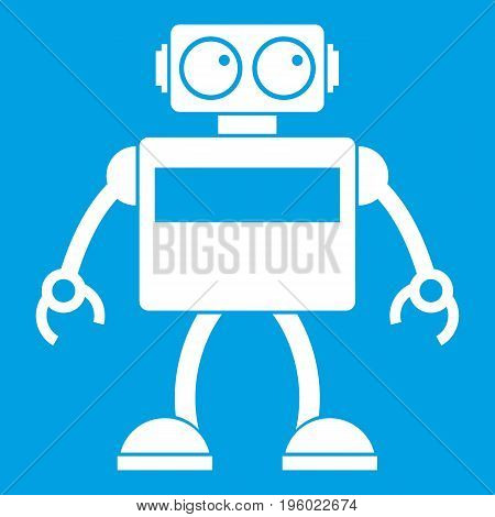 robot icon white isolated on blue background vector illustration