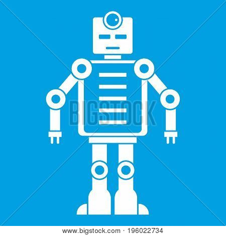 Artificial intelligence robot icon white isolated on blue background vector illustration