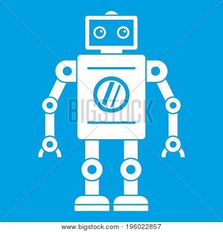 Retro robot icon white isolated on blue background vector illustration