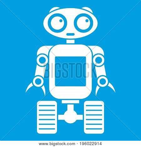 Robot on wheels icon white isolated on blue background vector illustration