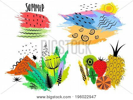 Vector set of hand drawn colorful summer emblems stickers prints on t-shirts with black patterns and structures on colored blots.