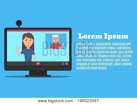 Computer monitor and web camera. The interface of the video call application. Video chat between father and daughter. Young woman talking with her father. Vector illustration in a flat style