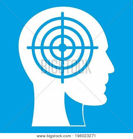 Crosshair in human head icon white isolated on blue background vector illustration