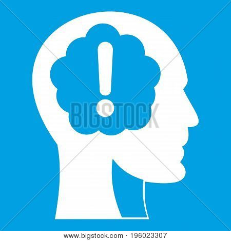 Head with exclamation mark inside icon white isolated on blue background vector illustration