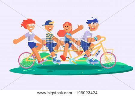 Family tandem bicycle cartoon concept with parents son and daughter. Flat vector illustration