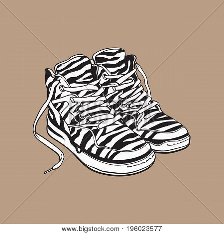 Pair of zebra patterned sneakers, sport shoes from 90s, sketch vector illustration isolated on brown background. Hand drawn pair of old fashioned, retro style sneakers from nineties, 90s pop culture