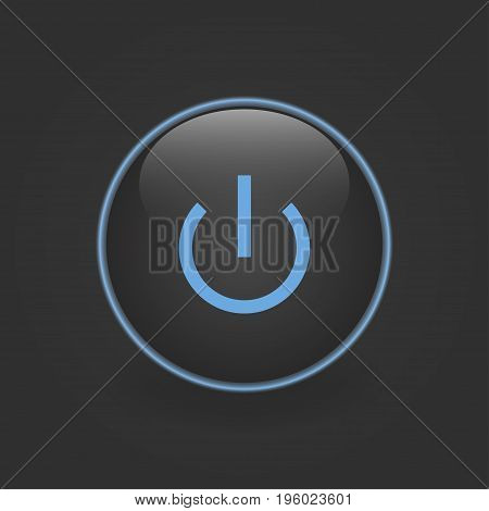 Neon circle. Button switch with blue light on a black background