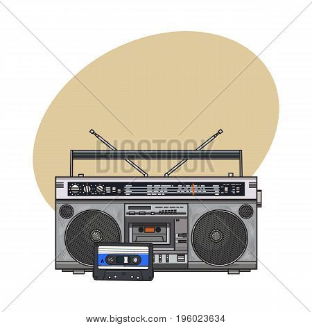Old fashioned audio tape recorder, ghetto boom box and audiotape from 90s, sketch vector illustration with space for text. Front view of audio tape recorder, boom box and audio cassette