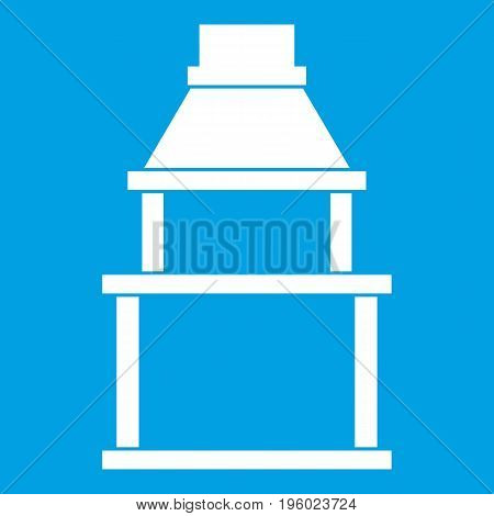 BBQ grill icon white isolated on blue background vector illustration