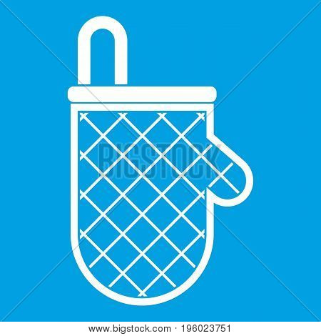 Kitchen protective glove icon white isolated on blue background vector illustration